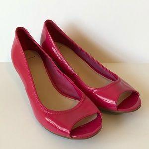 9 Cole Haan pink wedges peep toe